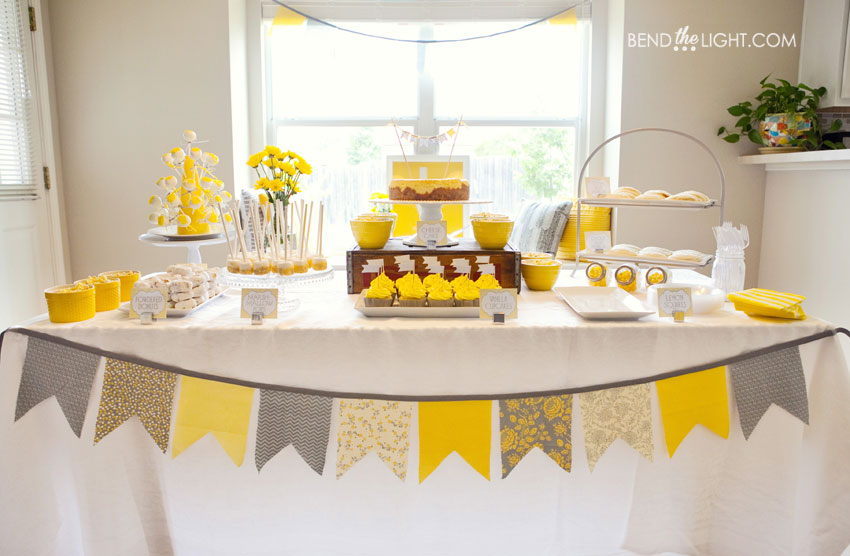 yellow grey gray white baby shower bridal wedding shower color