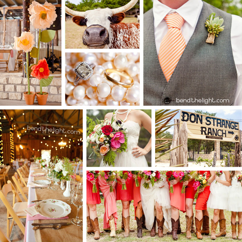 1 Orange Coral Pink Wedding Color Scheme Don Strange Ranch Kendall