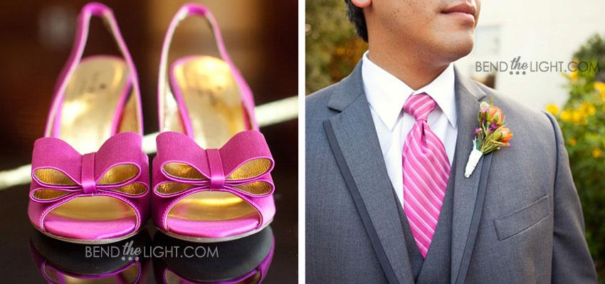 4 Hot Pink Wedding Color Scheme Groomsman Grey Suit Fuschia