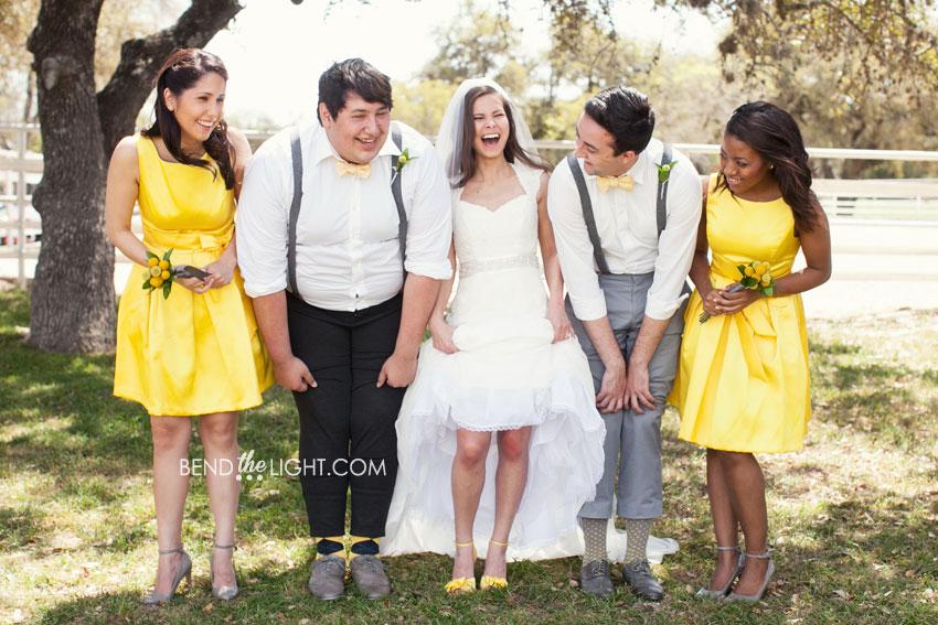 Yellow and Gray Bridesmaid Dresses